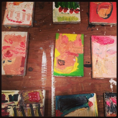 A close up on some of Rosemary's older pieces. i find it interesting that she practices on smaller canvases to get ideas for larger ones.