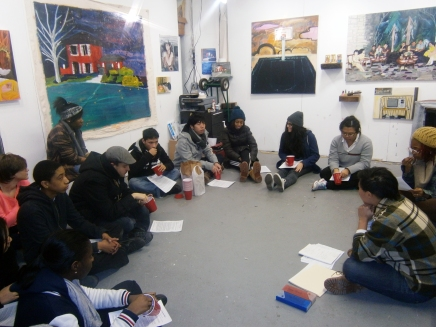 The group in Maia's studio
