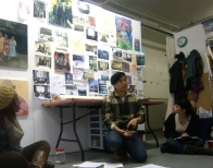 Maia addressing the Art Ready group in her studio
