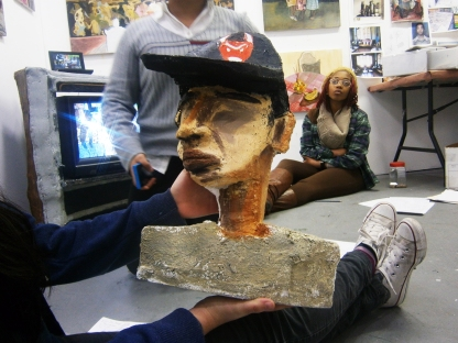 Maia created this bust sculpture using foam and layers of oil paint