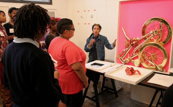 Art Ready students with Oasa DuVerney at Smack Mellon. October 15, 2014.
